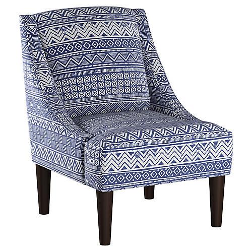 Quinn Swoop-Arm Chair, Indigo