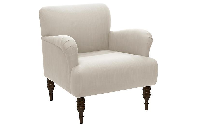 Nicolette Club Chair, Talc Linen