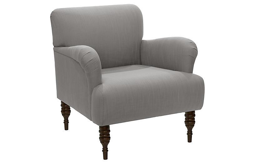 Nicolette Club Chair, Gray Linen