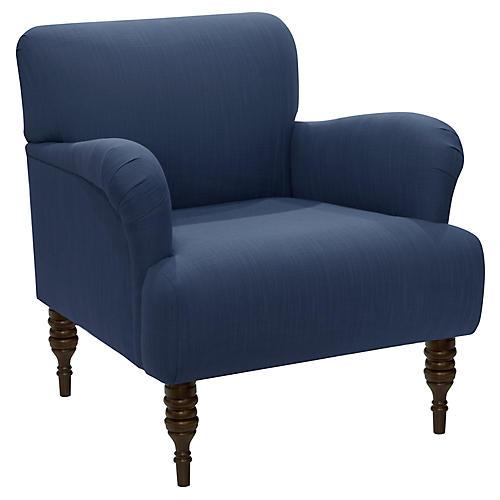 Nicolette Club Chair, Navy Linen