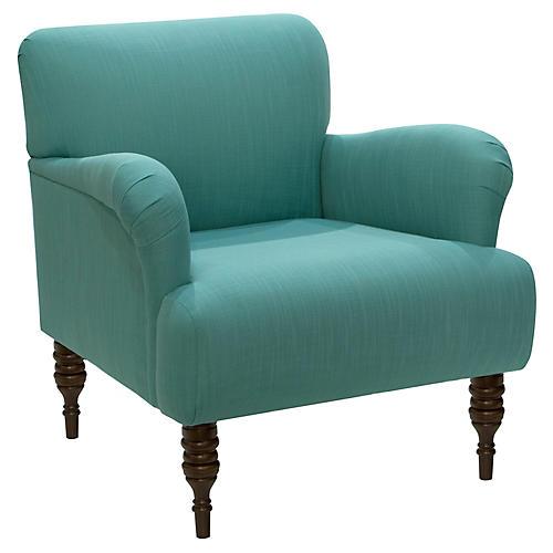 Nicolette Club Chair, Teal Linen
