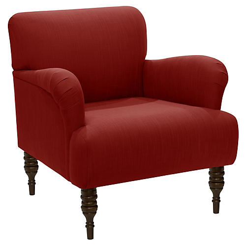 Nicolette Club Chair, Red Linen