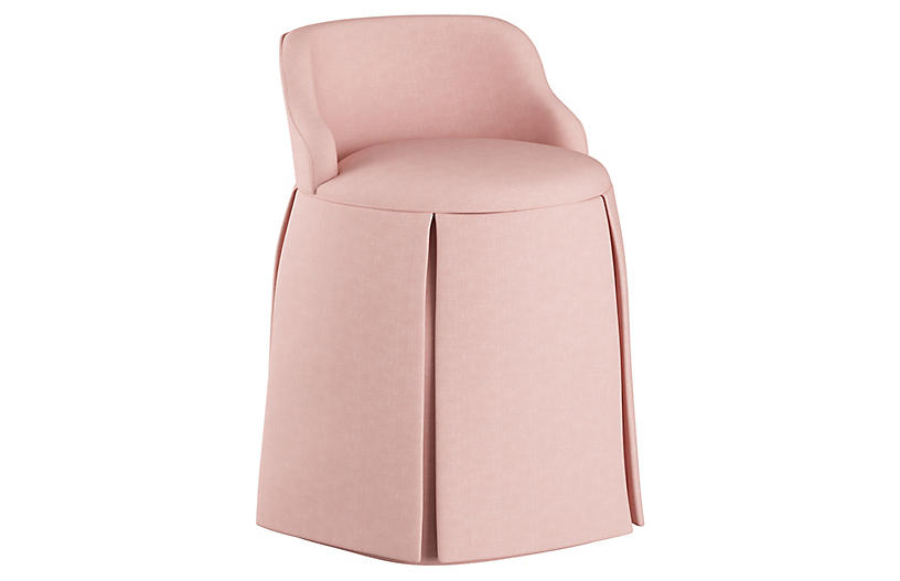 Addie Vanity Stool, Blush Linen