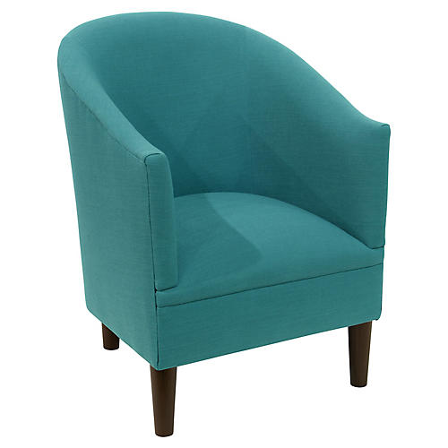 Ashlee Barrel Chair, Teal Linen