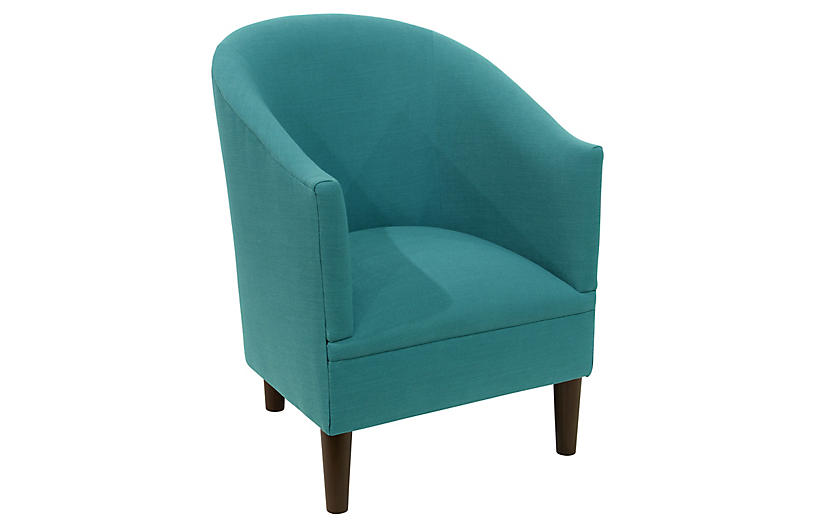 Prime Ashlee Barrel Accent Chair Teal Linen Machost Co Dining Chair Design Ideas Machostcouk