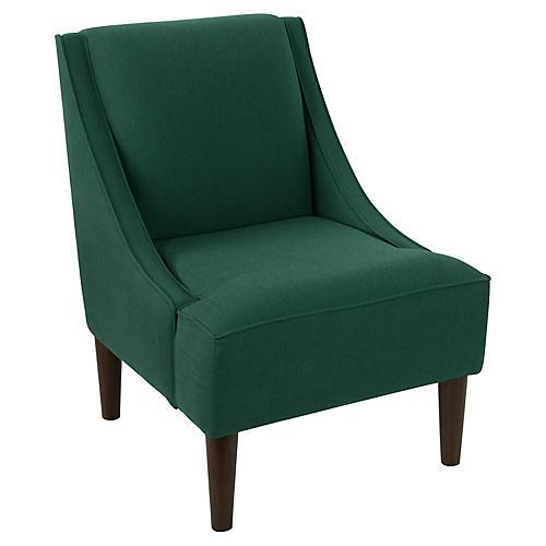 Quinn Swoop-Arm Chair, Forest Linen