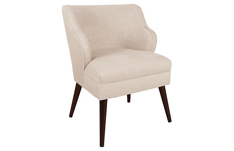 Kira Accent Chair, Talc Linen
