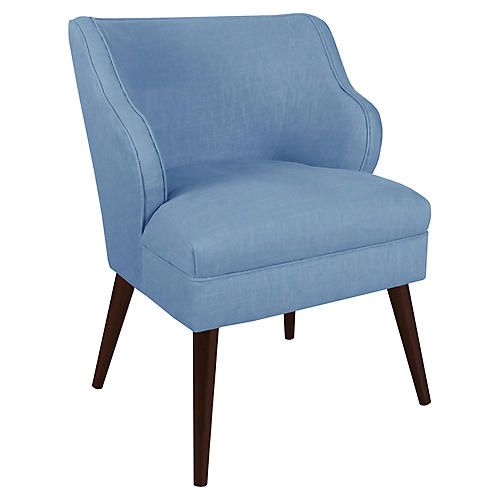 Kira Accent Chair, French Blue Linen