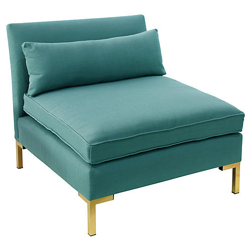 Marceau Slipper Chair, Teal Linen