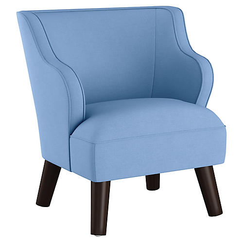 Kira Kids' Accent Chair, Blue Linen