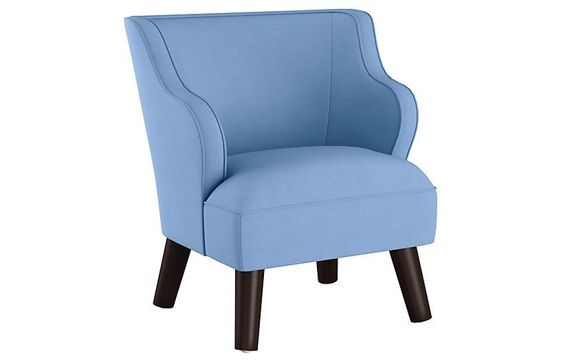 Kira Kids' Accent Chair, Blue Linen