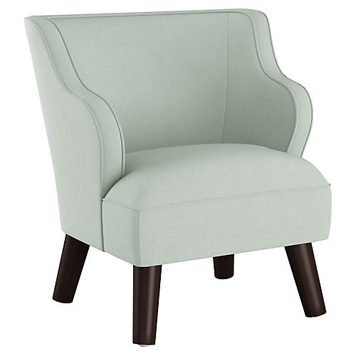 Kira Kids' Accent Chair, Mint Linen