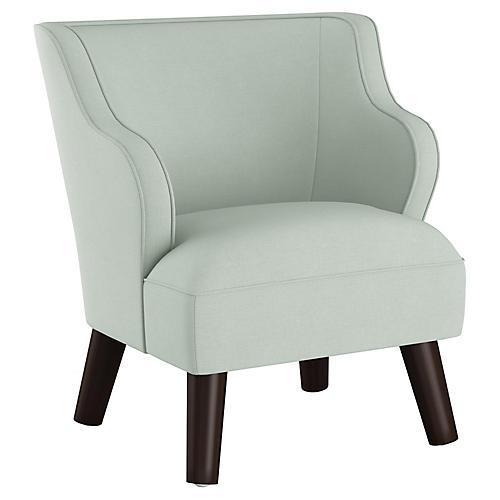 Kira Kids' Accent Chair, Mint Linen