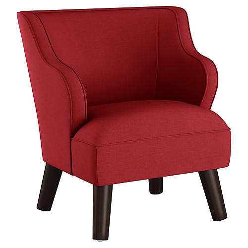 Kira Kids' Accent Chair, Red Linen