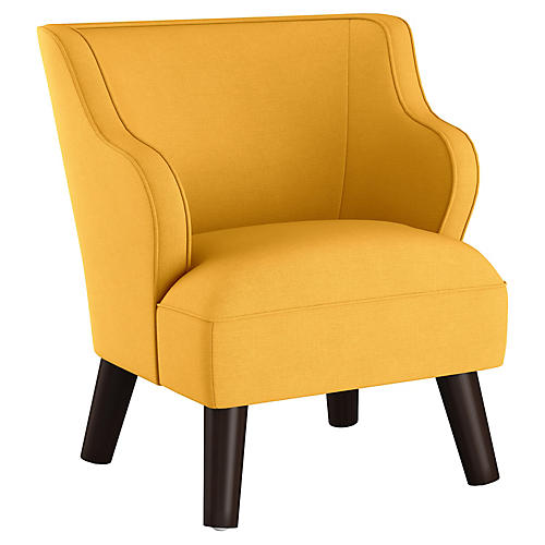 Kira Kids' Accent Chair, Yellow Linen