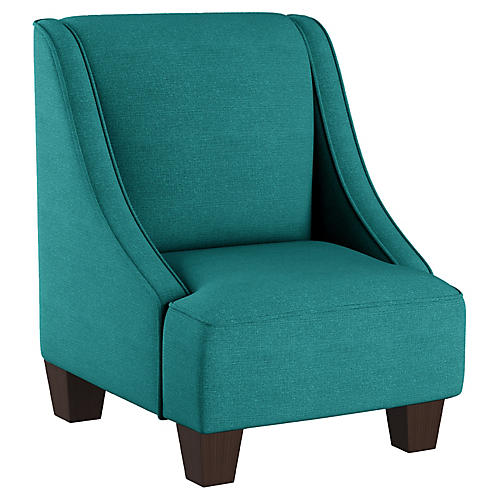 Fletcher Kids' Accent Chair, Teal Linen