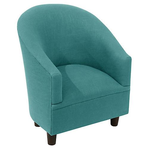 Ashlee Kids' Accent Chair, Teal Linen