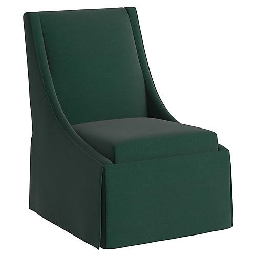 Jody Skirted Swoop-Arm Side Chair, Forest Green Linen