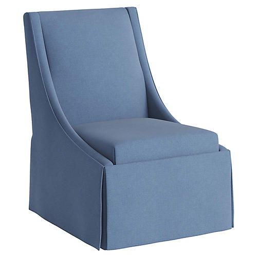 Jody Skirted Swoop-Arm Side Chair, French Blue Linen