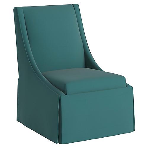 Jody Skirted Swoop-Arm Side Chair, Teal
