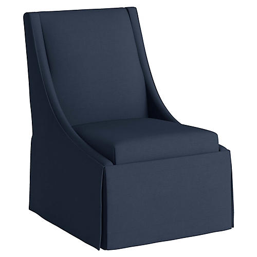 Jody Skirted Swoop-Arm Side Chair, Navy