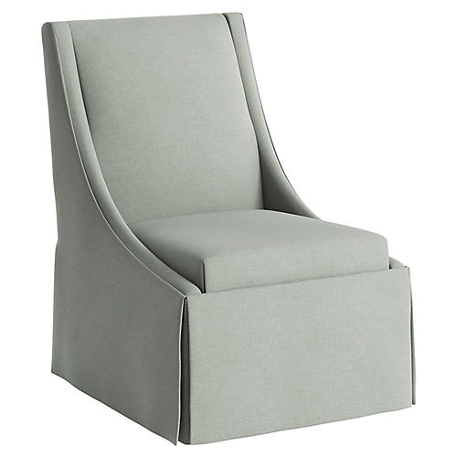 Jody Skirted Swoop-Arm Side Chair, Mint Linen