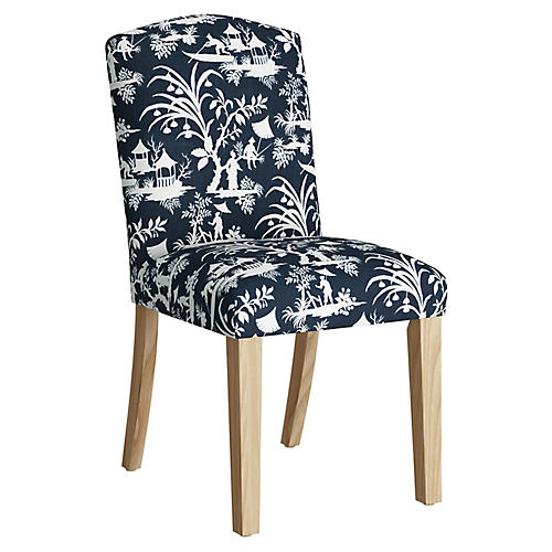 Marie Side Chair, Navy/Ivory Linen