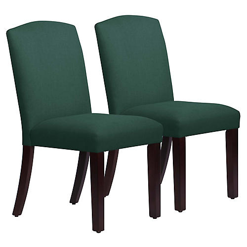 S/2 Marie Side Chairs, Forest Green Linen