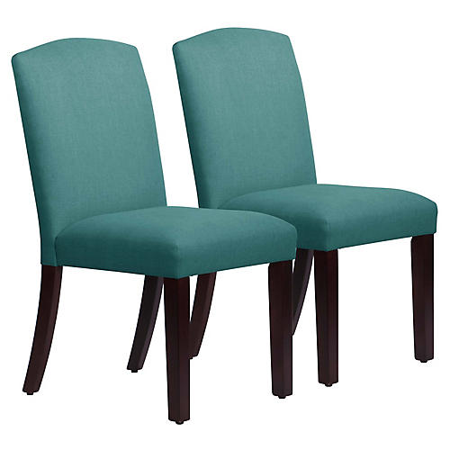 S/2 Marie Side Chairs, Teal