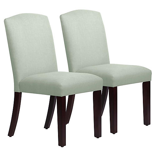 S/2 Marie Side Chairs, Mint Linen
