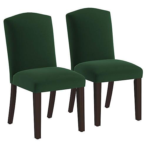 S/2 Marie Side Chairs, Emerald Velvet