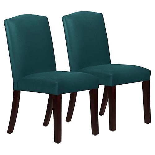S/2 Marie Side Chairs, Peacock Velvet