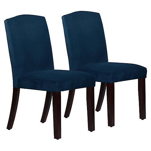 S/2 Marie Side Chairs, Indigo Velvet