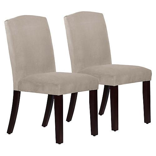 S/2 Marie Side Chairs, Light Gray Velvet