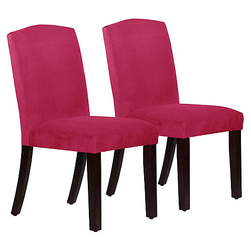 S/2 Marie Side Chairs, Fuchsia Velvet