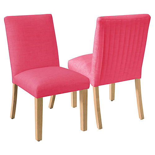 S/2 Erin Pleated Side Chairs, Fuchsia Linen