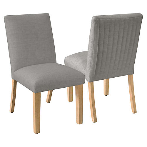 S/2 Erin Pleated Side Chairs, Gray