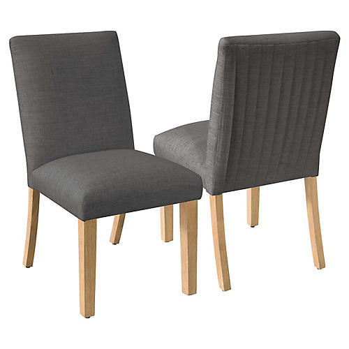 S/2 Erin Pleated Side Chairs, Charcoal