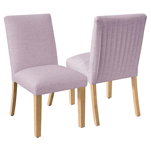 S/2 Erin Pleated Side Chairs, Lilac Linen