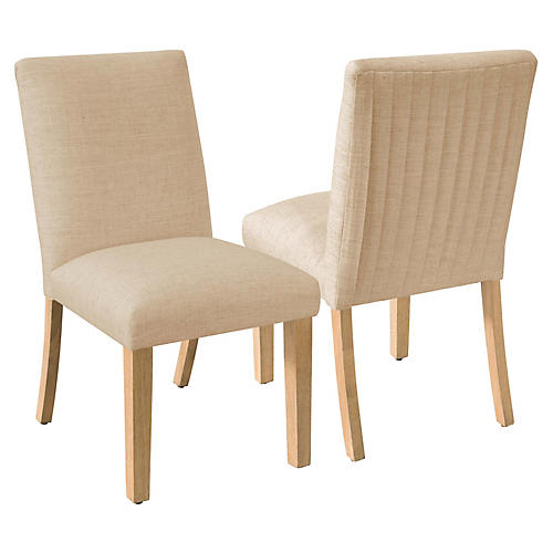 S/2 Erin Side Chairs, Sand Linen