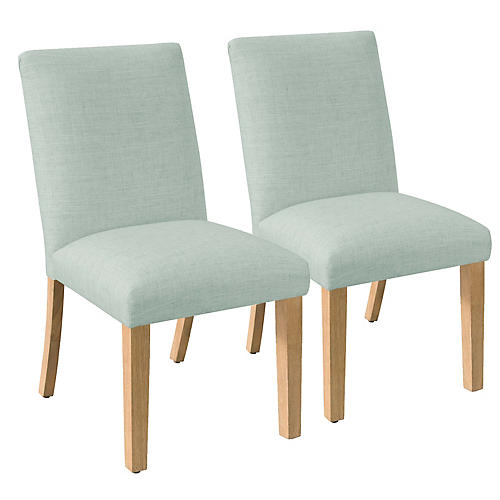 S/2 Erin Side Chairs, Mint Linen