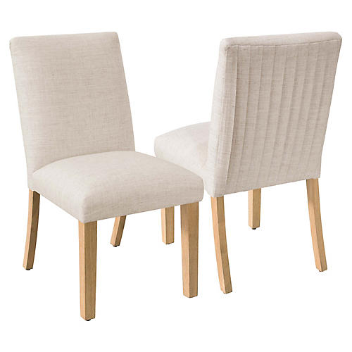S/2 Erin Pleated Side Chairs, Talc