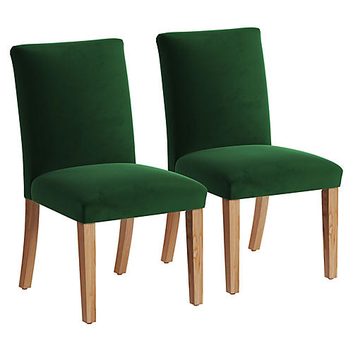 S/2 Erin Pleated Side Chairs, Emerald Velvet