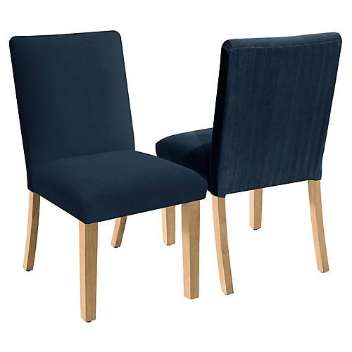 S/2 Erin Pleated Side Chairs, Indigo Velvet