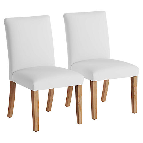 S/2 Erin Pleated Side Chairs, White