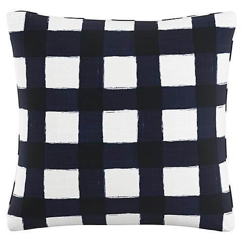 Beacon 20x20 Buffalo Check Pillow, Navy/White Linen