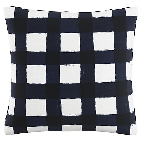 Beacon 20x20 Pillow, Navy/White Linen