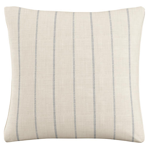 Hawley 20x20 Striped Pillow, Cream/Blue