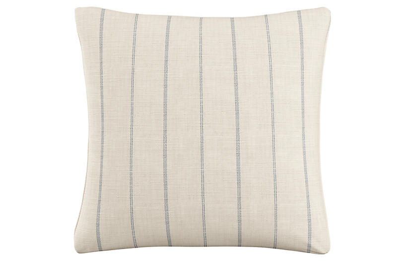 Hawley 20x20 Striped Pillow, Cream/Blue