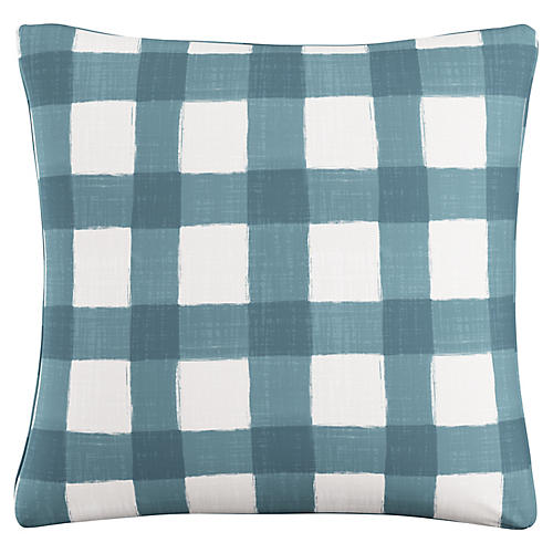 Beacon 20x20 Buffalo Check Pillow, Teal/White Linen